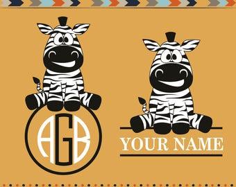 Zebra Monogram Svg Zebra Svg Files Animal Silhouette Svg For Silhouette Svg For Cricut Africa African Safari Zoo Animal Vinyl Design Svg Dxf