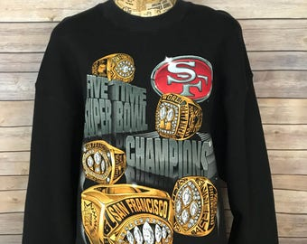 Vintage 90s San Francisco 49ers Five Time Super Bowl Champions Sweatshirt (XL)