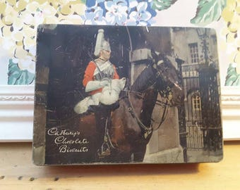 Vintage Cadbury's Chocolate Biscuits tin with Royal Horse Guards Household Cavalry, Bourneville.