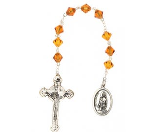 St. Peregrine Chaplet Topaz Brown Swarovski Crystal Elements - November (Patron Saint of Cancer Patients)