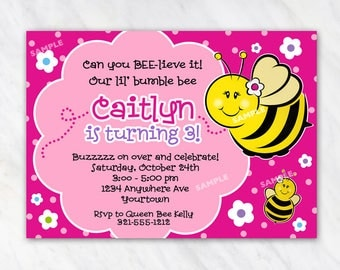 Sweet as can Bee Invitation for Birthday Party - Bumble Bee - Printable Digital File