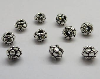 10 Pieces 925 Sterling Silver Bali Bead Spacer Beads  6.5mm Round