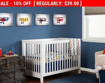 4 Airplanes prints, airplane prints, airplane wall art, boys room decor, kids room decor, airplane decor, airplane nursery, aviation art