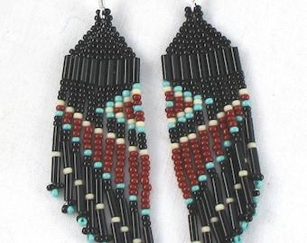 Beaded Earrings Southwest Design Dangle Fringe