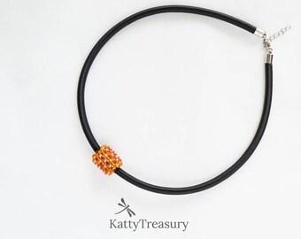 Crystal pendant, Beaded pendant, Orange, gift for her, Summer gift