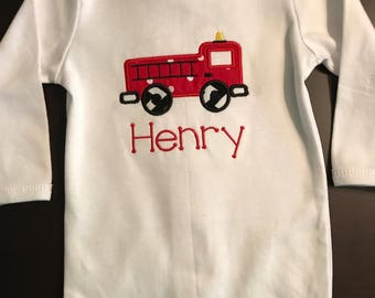 Preppy Personalized Onesie Firetruck Applique Monogrammed