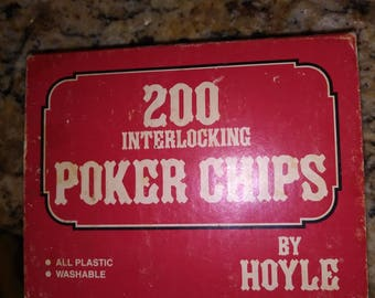 Vintage interlocking poker chips by Hoyle