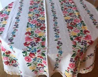 Vintage Floral Tablecloth with Hand Crocheted Edge 1970s