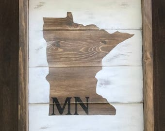 MN Wood Sign-Rustic Wood Sign-Wood Sign