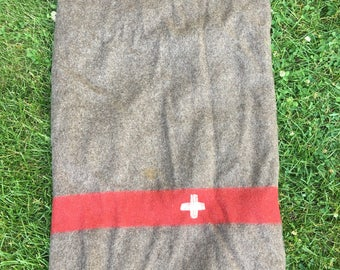 Authentic Vintage Original Swiss Army Military 100% Wool Blanket Dated, Initials & Tag 1940