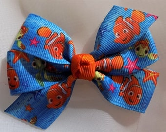 Girl's hair bow in Nemo grosgrain ribbon - Hair bow for girl, Hair bow, Hair accessory, Barrettes and clips, Toddler hair bow