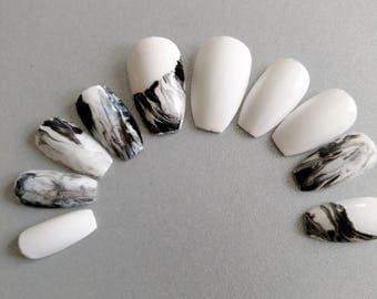Marble Nails, Black White nails, Press on nails, Nail art, Fake nails, Glue on nails, Women gift, Birthday, Party, Nails Gem, Coffin nails
