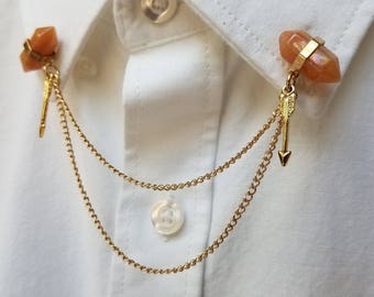 Peach Quartz Collar Pin set