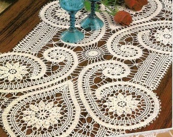 Bruges lace runner crochet doily 26 inches*16 inches