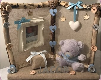Christening gifts for baby girl or boy. Handmade frames, personalised name/ocassion with photo pocket included by TalaDesigns.