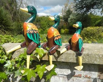 Wooden Duck Carving - Sitting Shelf Sitter Duck Ornament - Mallard 25cm