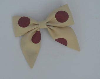 Clip-in bow - fall bow - tan bow - maroon bow - vintage fabric - polka dot bow