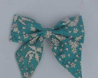 Blue bow - blue floral bow - clip-in bow - toddler bow
