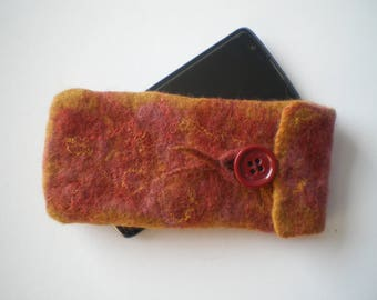 Wet felted gold and pink wool mobile phone/glasses case