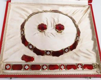 Mid 1900's Volmer Bahner Sterling Silver Red Enamel Necklace Set