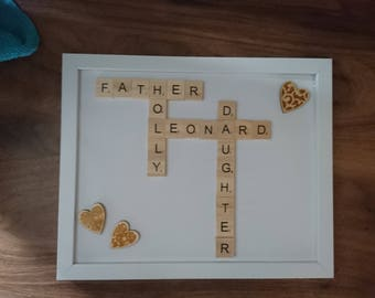 Fathers Day Father's Day Customised Scrabble Name Frame Customized Names Customised Names Scrabble Tiles Frame Dad Daughter Son Gift