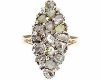 14K 1900's Natural Diamond Multi-Color Ring
