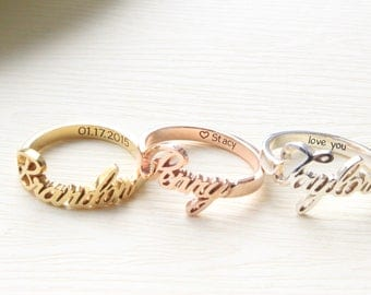 Custom Name Ring with Personalized Band - Engraved Ring - Personalized name ring - Bridesmaid Gift- MOTHER GIFT - Christmas Gift