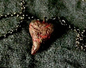 Miniature Heart Necklace (Red/Charred)