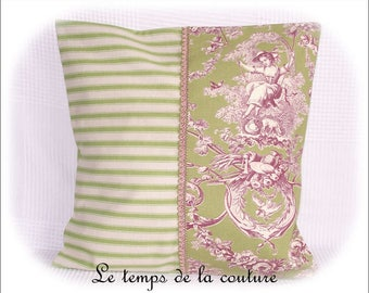 Pillow cover - shades of beige, green and purple - patterned vertical - handmade.