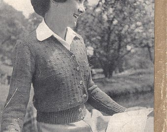 Vintage 1940's knitting pattern, cardigan 12 - 14 years Patons No. 373