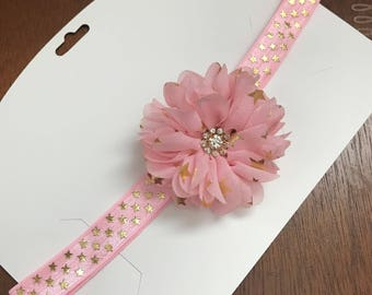 Pink and gold star headband or hair clip