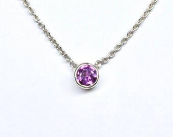 Rhodolite Garnet Single Stone Necklace