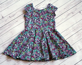 Blue Floral Dress. Bright Floral Dress. Baby Dress. Toddler Dress. Little Girl Dress. Twirl Dress. Twirly Dress. Play Dress. Floral Dress.