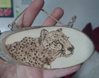 Hanging Woodburn Decoration (Cheetah)