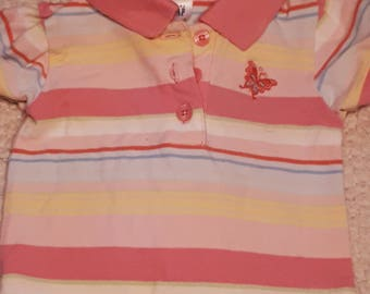 Pink Stripped with Butterfly Puppy Shirt (Size 1P)