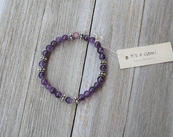 Natural Amethyst and Pewter Bracelet - Light Purple Beaded Bracelet - Semi Precious Stone Elastic Bracelet - February birthstone