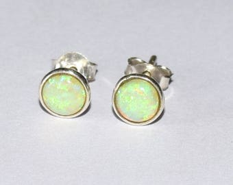 Green Opal earrings, opal stud earrings, minimalist, dainty, every day earrings, Green Opal Stud , Opal Ear Stud, Girls Stud, Women Stud,