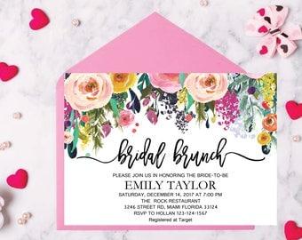 Bridal Brunch Invitation, Watercolor bridal invite, Floral Bridal Shower Card, Instant Digital Download File, Flower Bride DIY, Brunch 10