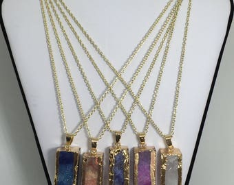 """Gemstone Agate Bar Pendant Necklace with 14k Gold Chain & Side Detail, 18"""" chain"""