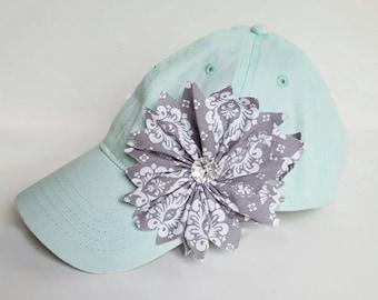 Women's hats | ball cap | trucker hats | bling hats | blue hats | flower hats | baseball caps | gray flower | aqua hats, girl hats