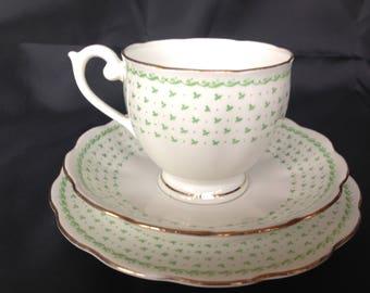 Queen Anne Trio tiny green shamrock/clover pattern