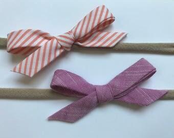 Schoolgirl Bows | Set of Bows | Bow Duo | Headband Set | Baby Shower Gifts | Nylon Headbands | Baby Girl | Polka Dots | Stripes