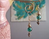 Amazing teal and silver dangle earrings, teal and silver earrings