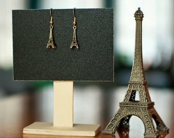 Paris Eiffel Tower Earrings, Gold Parisian Earrings for lovers of the City of Lights