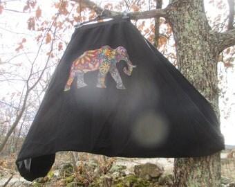 Black harem pants size L cotton multicolored elephant pattern