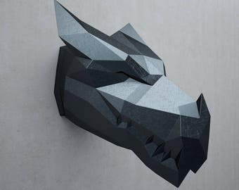 Papercraft Dragon Head Trophy, papercraft 3D, paper model, DIY black dragon paper sculpture, pattern, animal paper craft PDF, pepakura