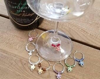 Flower Wine Charm Set; Set of 8 Springtime Wine Charms
