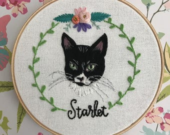 custom hand embroidered pet portrait // personalized embroidery art