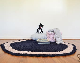 Crochet Navy and Baby Pink Scalloped Edge Rug