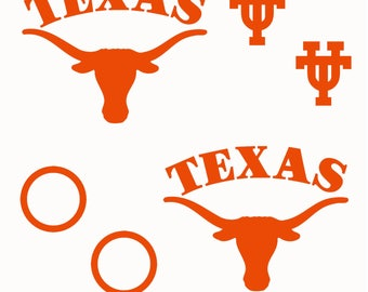 "Texas Longhorns corn hole baggo bag toss decal set (8 pieces) logo 15"" 3 colors"